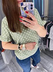 Стильная женская блуза в горошек ,цвет фисташка