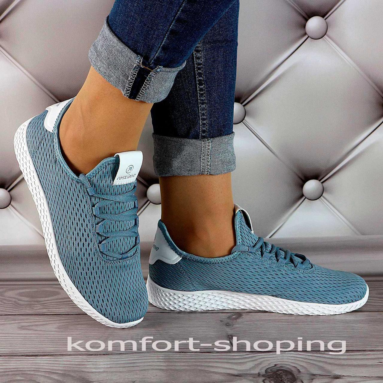 Женские кроссовки на шнуровке, синяя сетка   V 5500