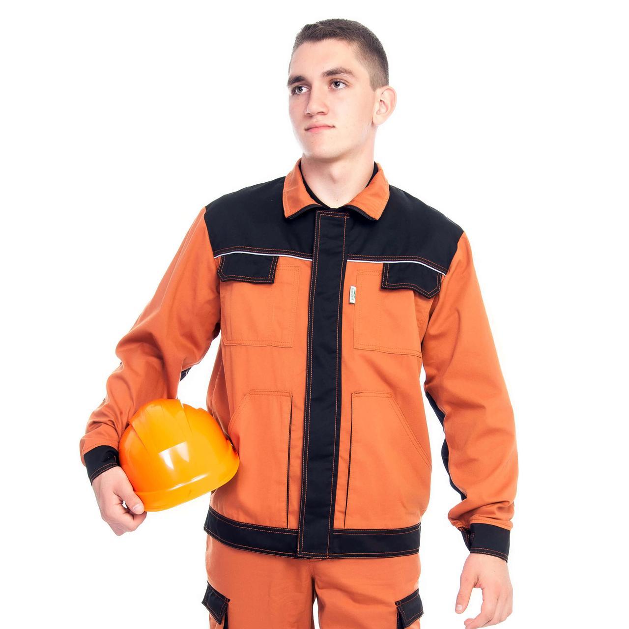 Куртка ПЕРФОРМЕР, 100% бавовна, теракотовий/чорний
