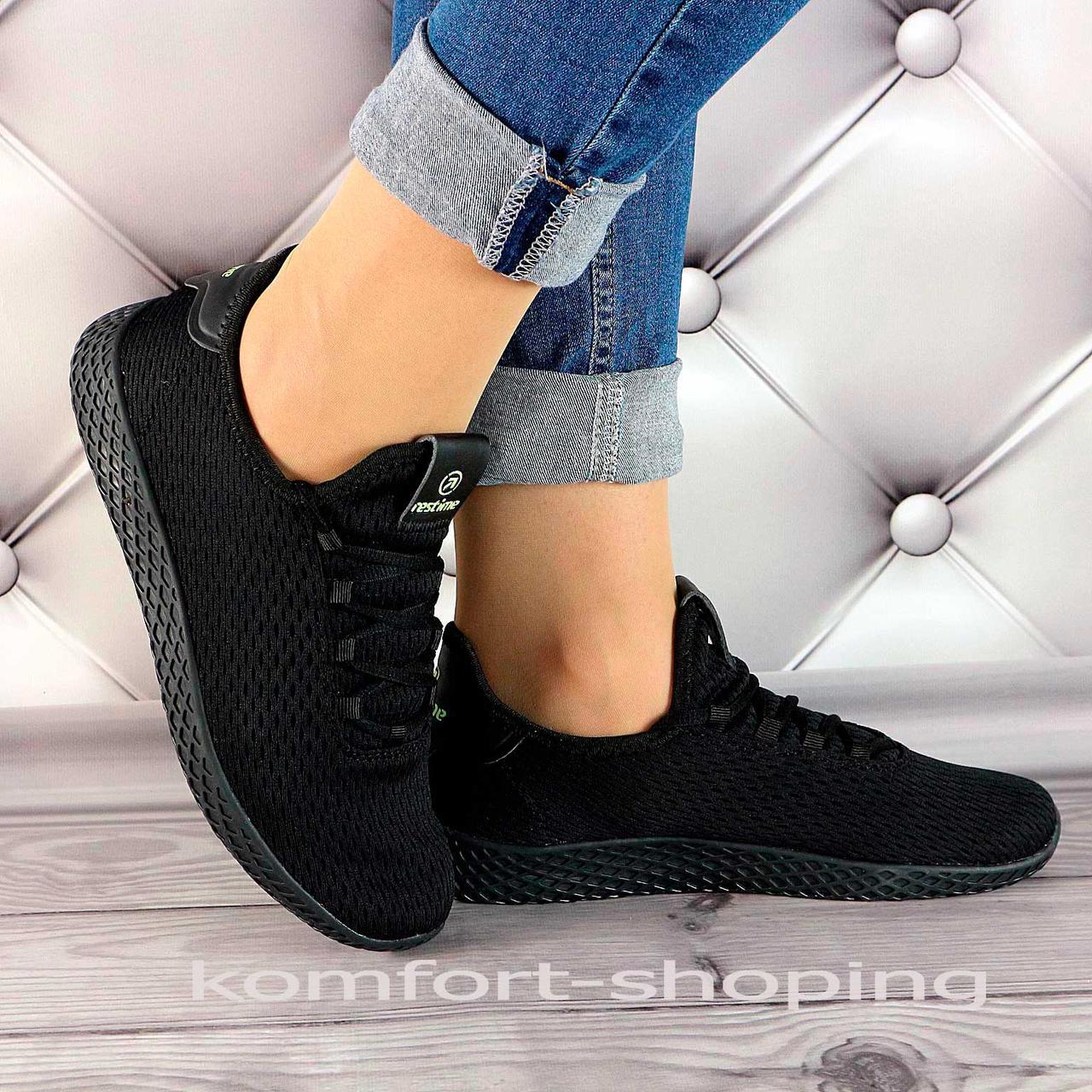 Женские кроссовки на шнуровке, черная сетка   V 5500