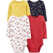 Набор бодиков Carter's для мальчика с длинным рукавом, желтый, синий, белый, красный 12М (72-78 см)