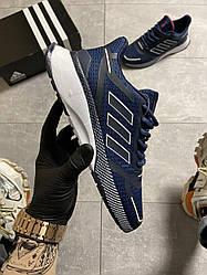 Мужские кроссовки  Adidas Cloudfoam Mesh Blue (синие)