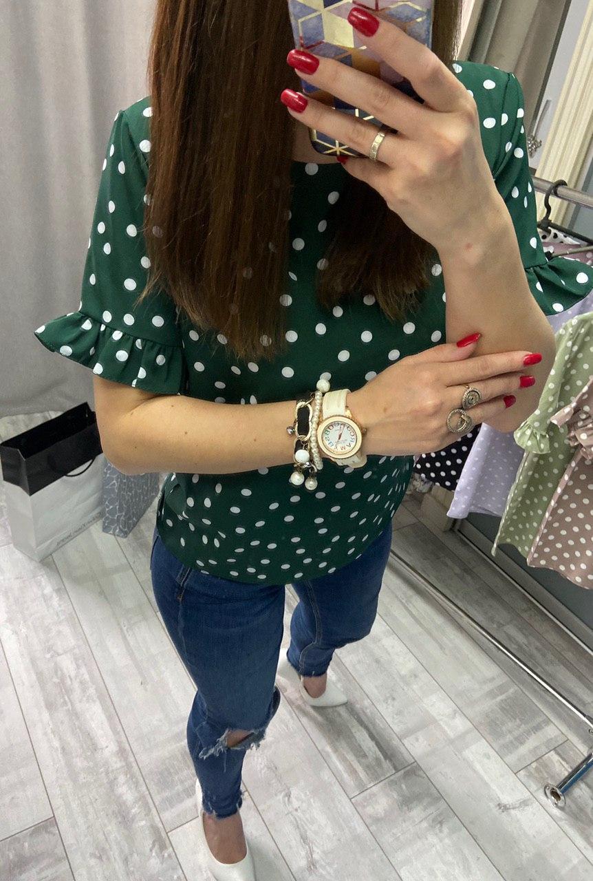 Женская стильная блузка в горошек