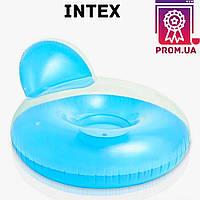 Надувное кресло для отдыха Intex 58889 с подушкой для спины, 137 х 122 см, голубое . Матрас пляжный. I