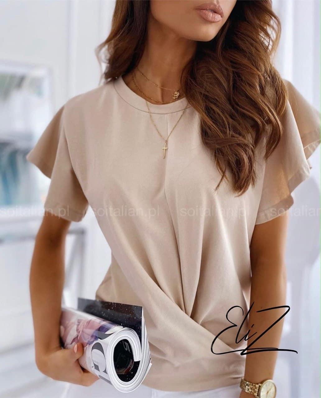Женская блузка с рюшами из дайвинга