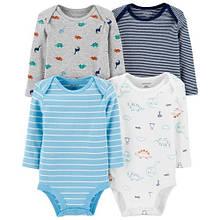 Набор бодиков Carter's для мальчика с длинным рукавом, белый, голубой, синий и серый 12М (72-78 см)