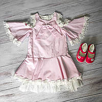 Нежно розовое летнее платье с ажуром для девочки 2-5 лет
