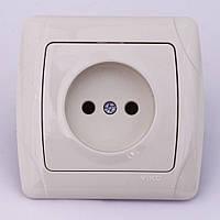 Розетка электрическая VI-KO Carmen скрытой установки одинарная без заземления (кремовая)