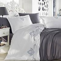 Комплект постельного белья сатин люкс c вышивкой семейный размер Dantela Vita GOZDE ANTRASIT