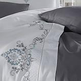 Комплект постельного белья сатин люкс c вышивкой семейный размер Dantela Vita GOZDE ANTRASIT, фото 2