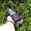 Чоловічі літні шльопанці чорні з червоною емблемою Джордан, фото 2