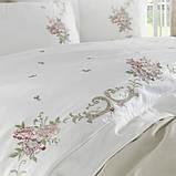 Комплект постельного белья сатин люкс c вышивкой семейный размер Dantela Vita Lara krem, фото 2