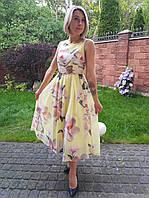 Нарядное легкое платье с нежным цветочным принтом Lilium. Турция