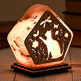 Соляной светильник Домик средний Кот в цветах, фото 3