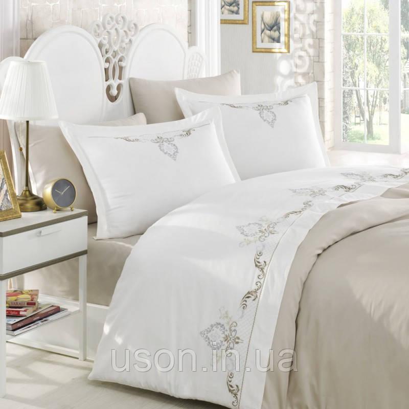 Комплект постельного белья сатин люкс c вышивкой семейный размер Dantela Vita GOZDE NAKISLI BEJ