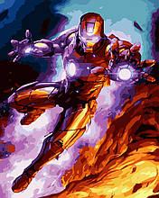 Картина ( раскраска) по номерам ПРЕМИУМ!!! Железный человек в бою