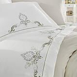 Комплект постельного белья сатин люкс c вышивкой семейный размер Dantela Vita GOZDE NAKISLI BEJ, фото 2