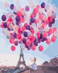 Картина ( раскраска) по номерам ПРЕМИУМ!!! Париж в шарах