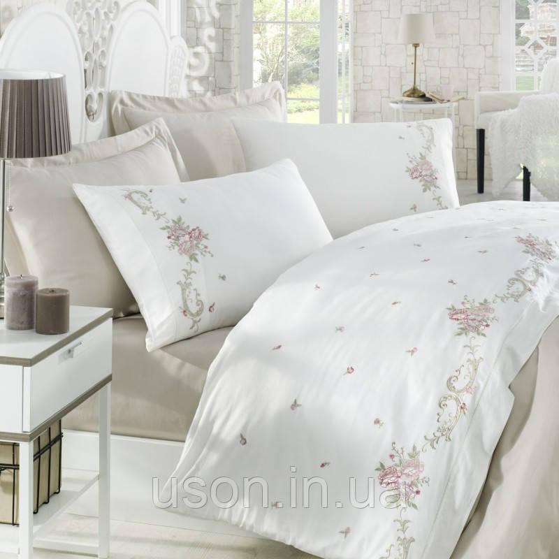 Комплект постельного белья сатин люкс c вышивкой семейный размер Dantela Vita ROSENNA