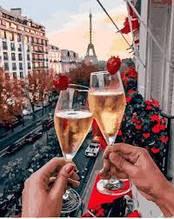 Картина ( раскраска) по номерам ПРЕМИУМ!!! Бокалы Парижа  с ягодами