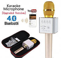 Караоке микрофон-колонка Q9 Plus Bluetooth 2 в 1 в футляре (Золотой)