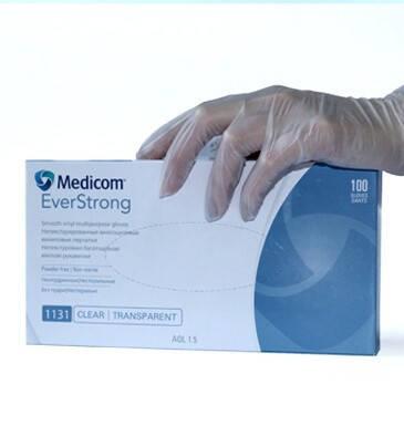 Перчатки виниловые без пудры Medicom размер М 100 шт (1131-В/1129-B), фото 2