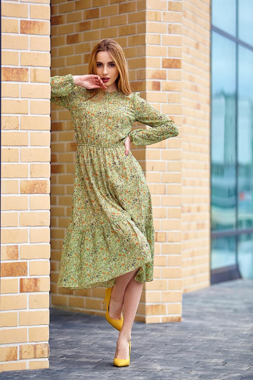 Легкое шифоновое платье оливковое