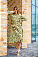 Легкое шифоновое платье оливковое, фото 1