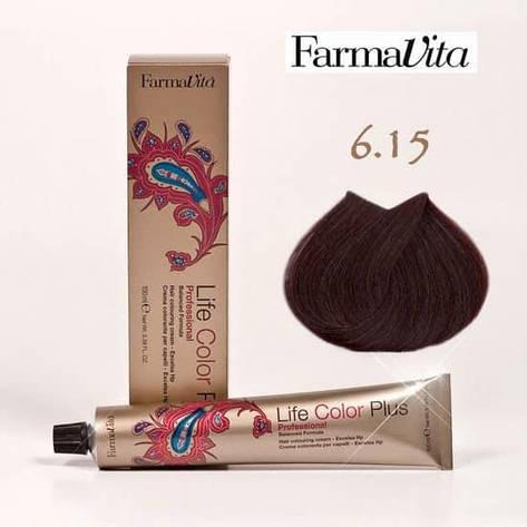 Краска для волос 6.15 Life Color Plus Темный блондин пепельный (красное дерево) 100 мл, фото 2