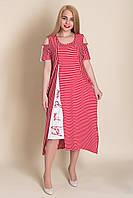 Красное полосатое платье батал. Лето 2020. Турция. 46\52, 48\54, 50\56. Продажа оптом и в розницу, фото 1