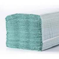Бумажные полотенца листовые, макулатурные, зеленые M102.