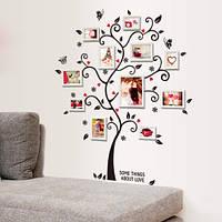 """Интерьерная декоративная наклейка на стену """"Семейное дерево с фото"""" (AY6031)"""