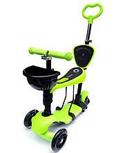 Самокат-беговел 5в1 с родительской ручкой Scooter, сиденье, корзиной, Подсветкой Колес И Платформы, Зеленый