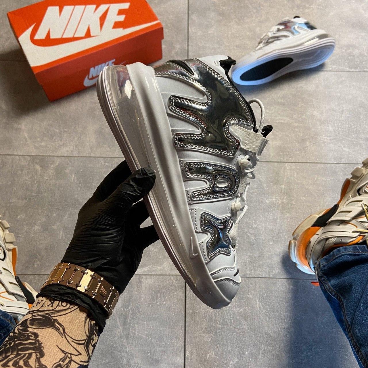 🔥 ВИДЕО ОБЗОР 🔥 Nike Air More Uptempo 720 White Silver Найк Аир 🔥 Найк мужские кроссовки 🔥