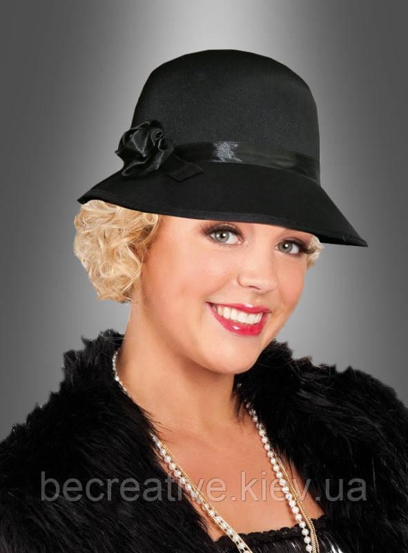 Карнавальная черная шляпа в стиле 20-х годов