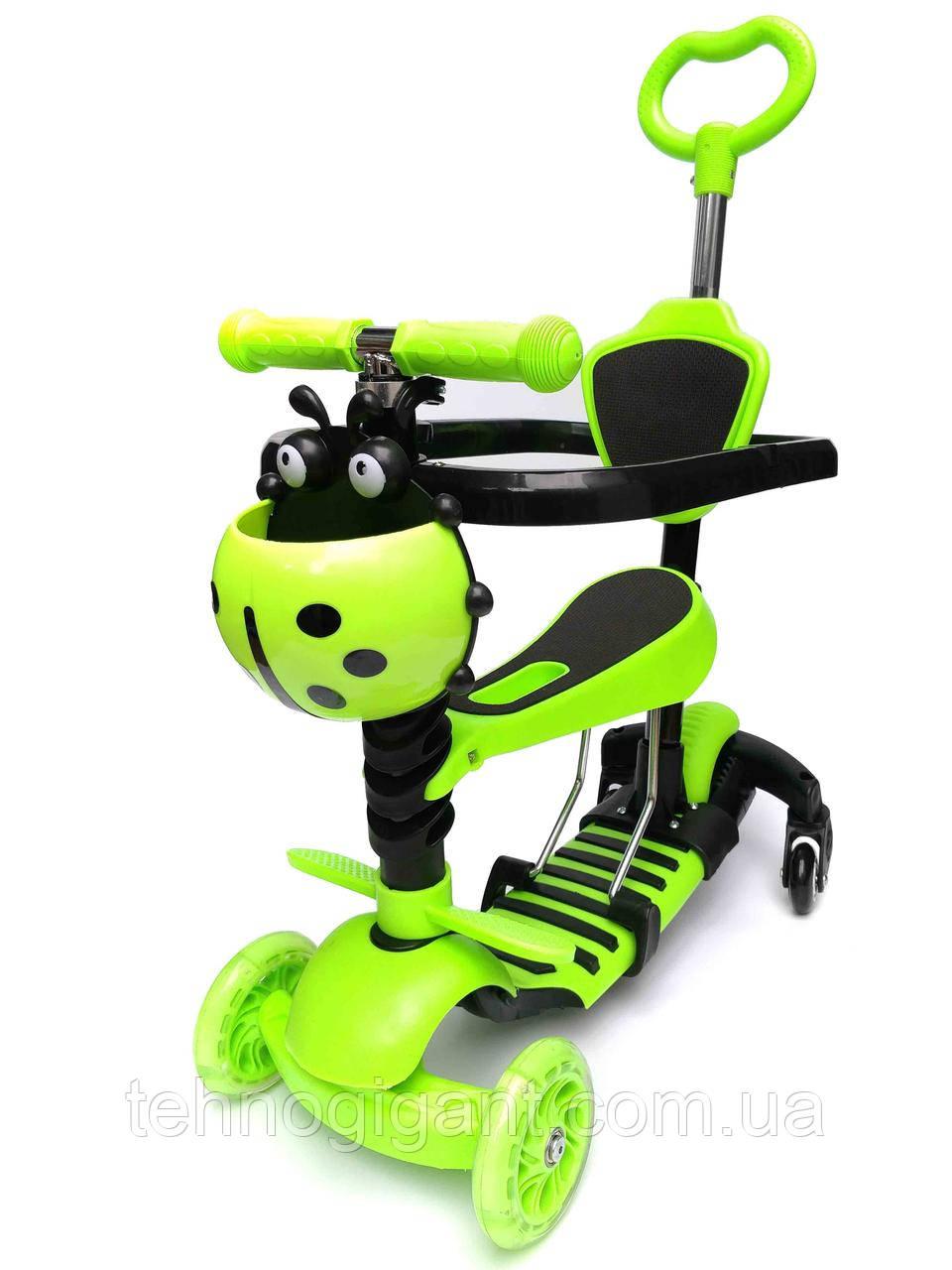 Трехколесный самокат беговел с Scooter 5в1 с родительской ручкой, сиденьем, бортиком, боковые колеса Зеленый