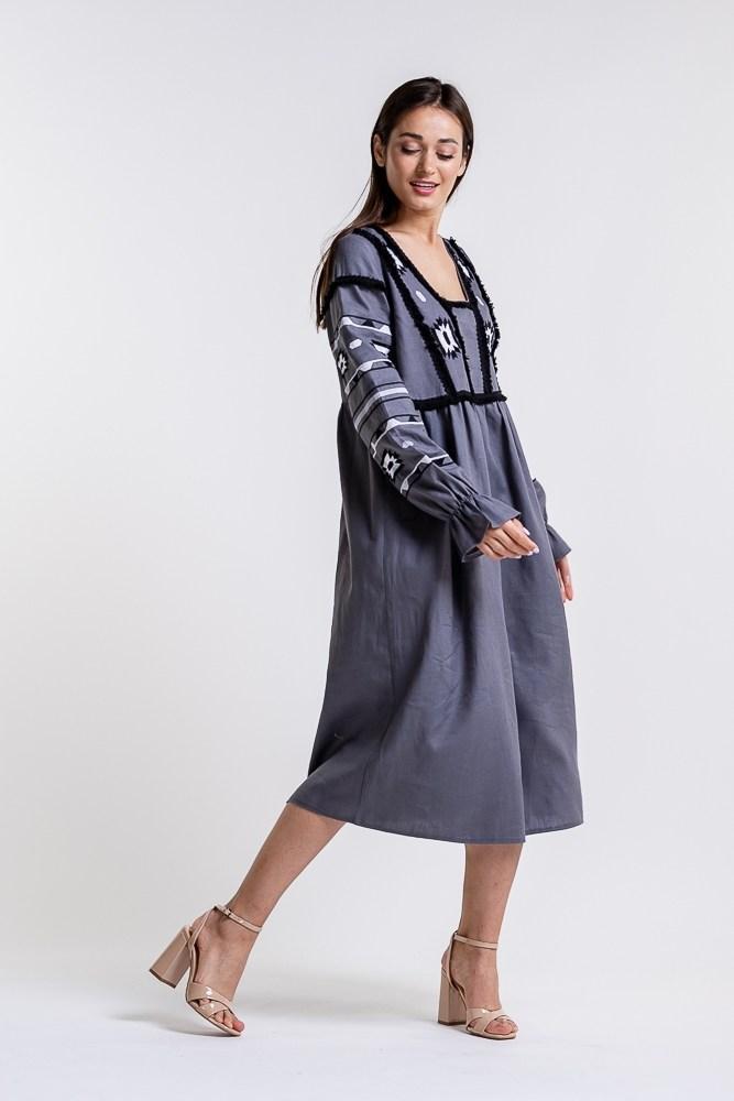 Платье-вышиванка льняное темно-серое