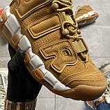 🔥 ВИДЕО ОБЗОР 🔥 Nike Air More Uptempo Brown Fleecy Skin Найк Аир 🔥 Найк мужские кроссовки 🔥, фото 9