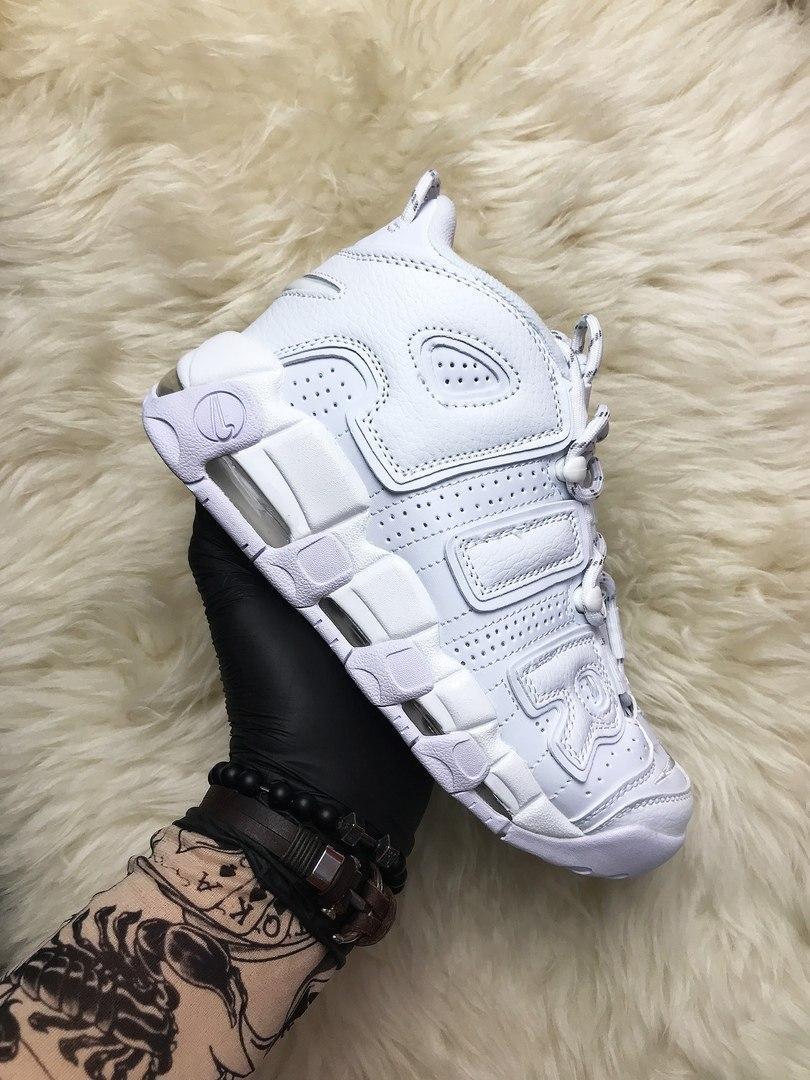 🔥 Nike Air More Uptempo White on White Белый Найк Аир Аптемпо 🔥 Найк мужские кроссовки 🔥