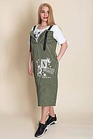 Платье-сарафан большой размер от производителя, оливка. Лето 2020. 52, 54, 56, 58. Продажа оптом и в розницу, фото 1