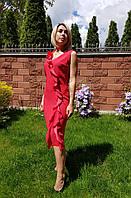 Нарядное красное платье с рюшами Vipart. Турция