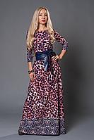 Платье в пол 356-1 леопард, р44, 46