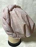 Річна бандана-шапка-косинка-тюрбан в горох колір пудра і сіра, фото 3