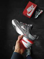 Nike M2K Tekno Grey Стильные мужские серые кроссовки Найк М2К Текно. Повседневные кроссовки мужские