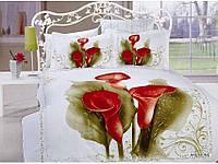 Полуторное постельное белье  Arya сатин Anemone белое с красными калами