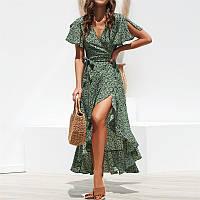 Платье женское летнее длинное на запах с воланами в мелкий цветочек, размер S (зеленое)