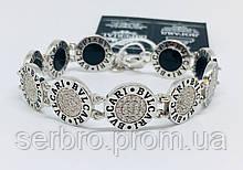 Двосторонній брендовий браслет з цирконом і оніксом Бренд