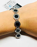 Двусторонний брендовый браслет с цирконом и ониксом Бренд, фото 7