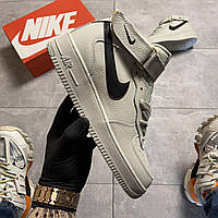 🔥 ВИДЕО ОБЗОР 🔥 Nike Air Force 1 High White Black Swosh Серый Найк Аир Форс 🔥 Найк мужские кроссовки 🔥