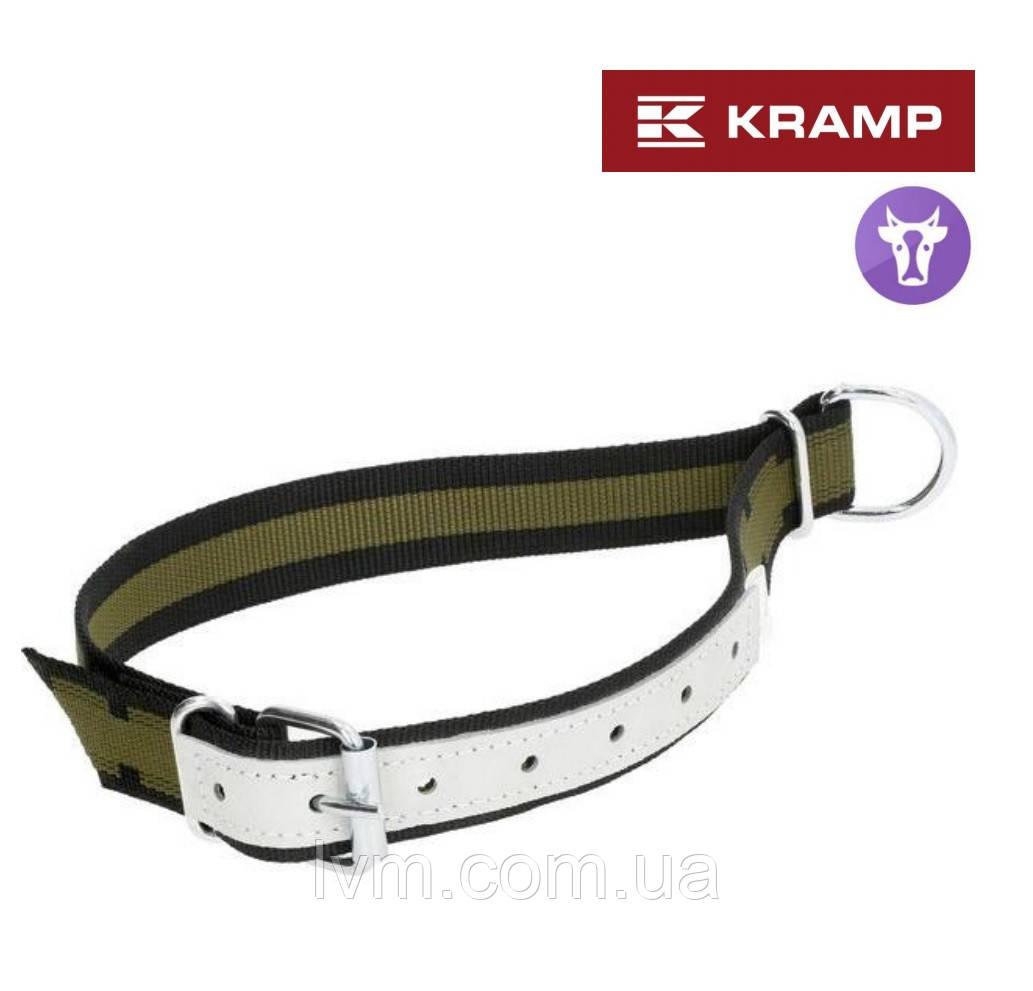 Ошейник для телек и коров 4*110см, с кожаной вставкой и кольцом для привязи KRAMP (Германия)